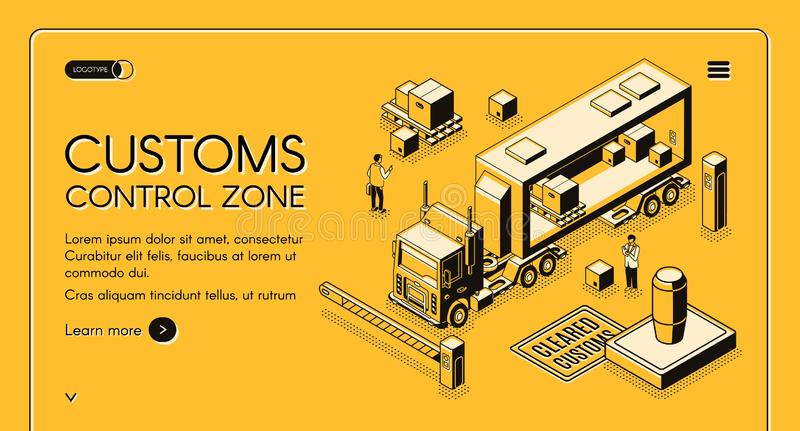 Customs control zone isometric vector website. Customs control zone online services isometric vector web banner with customs officers inspecting commercial cargo royalty free illustration