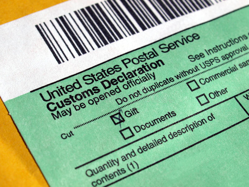 Customs declaration. On a foreign packet parcel royalty free stock images