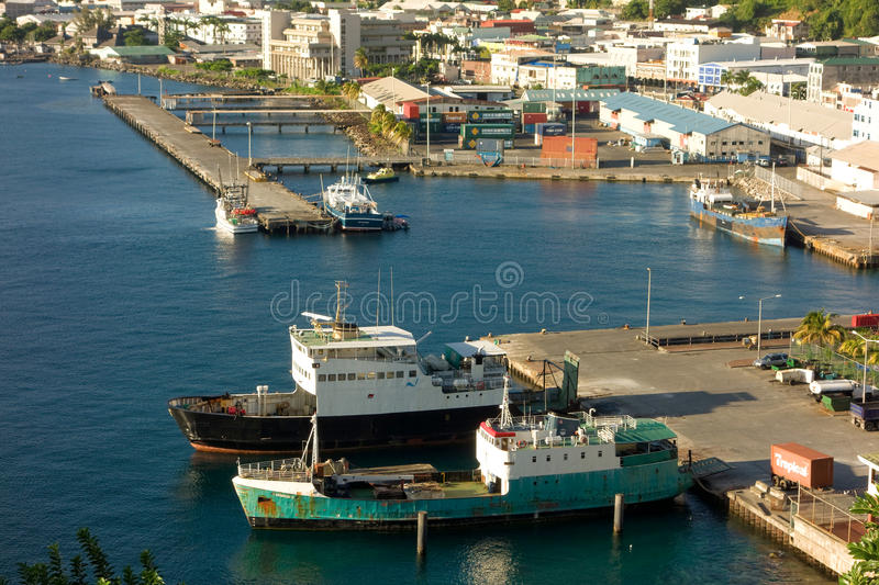 The customs jetty and the grenadines wharf at kingstown, st. vincent stock photos