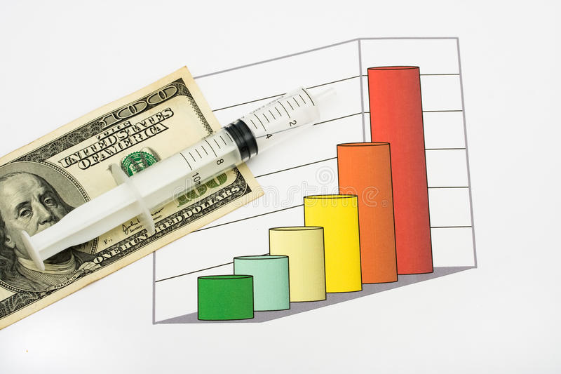 Custos aumentados dos cuidados médicos imagem de stock