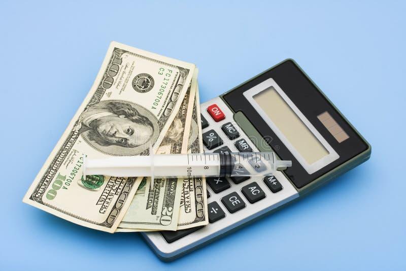 Custos calculadores dos cuidados médicos imagens de stock royalty free