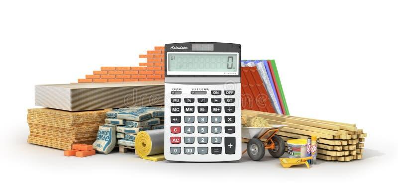 Custos calculadores dos materiais Grupo de materiais e de ferramentas de construção com calculadora ilustração stock