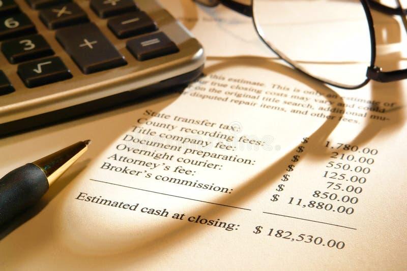 Custos previstos de fechamento do vendedor dos bens imobiliários foto de stock