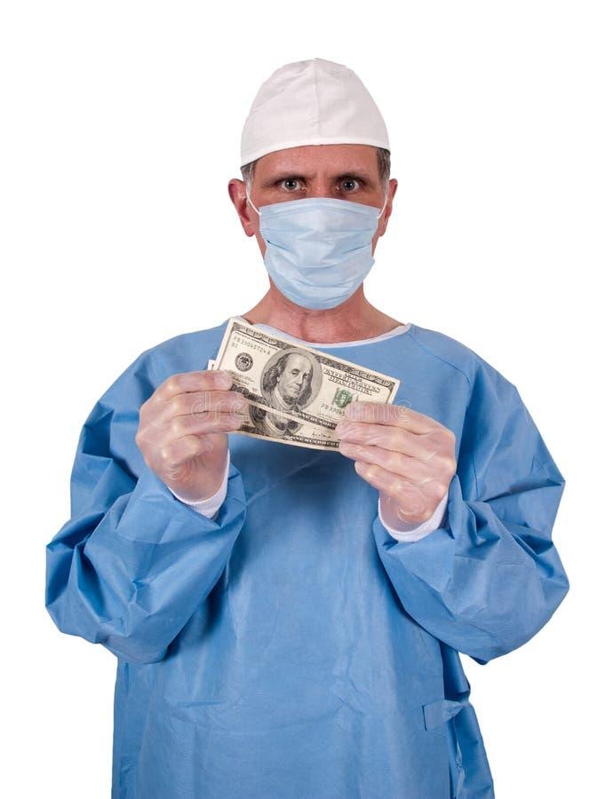 Custos sérios do doutor Cirurgião Dinheiro Dinheiro Cuidados médicos imagens de stock royalty free