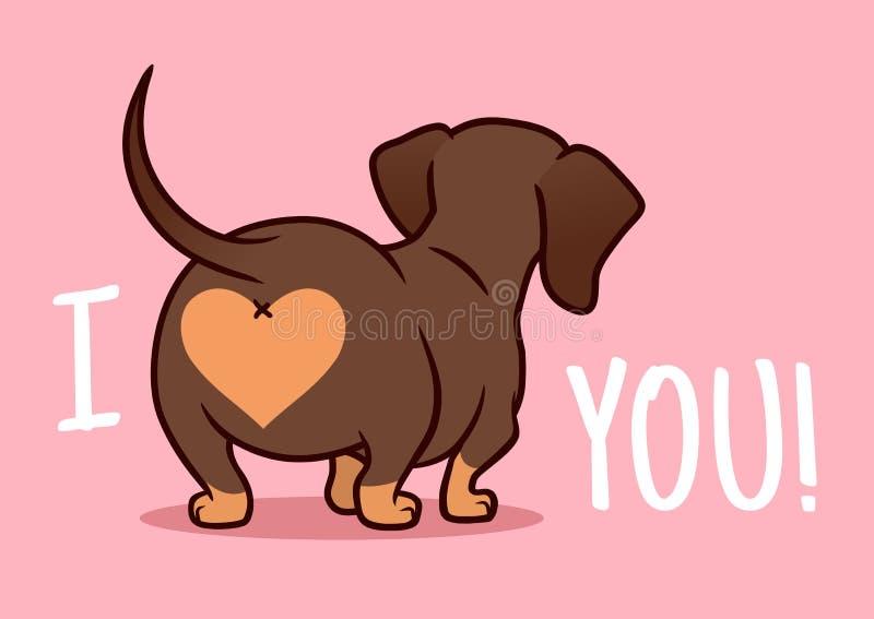 Cutе达克斯猎犬小狗在桃红色背景隔绝的动画片例证 ?? 向量例证