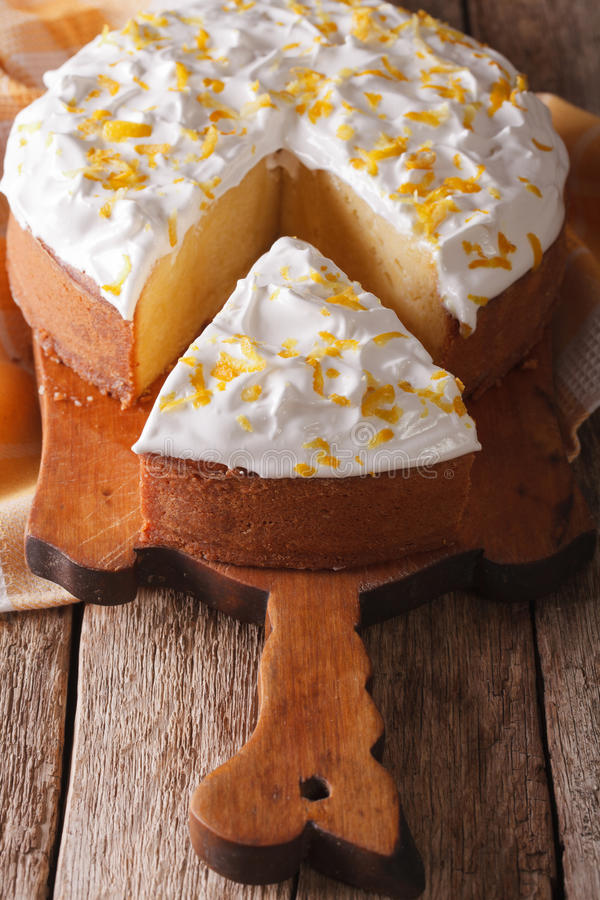Free Cut A Piece Of Cake Tres Leches Closeup On A Table. Vertical Stock Images - 65727734