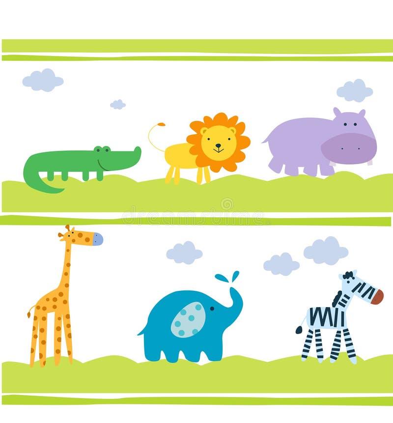 Cut animals wallpaper stock illustration