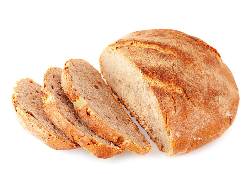 Cut artisan bread. On white background royalty free stock image