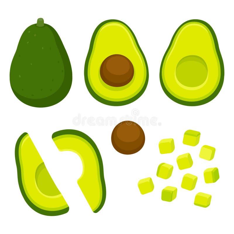 Cut avocado illustration set royalty free illustration