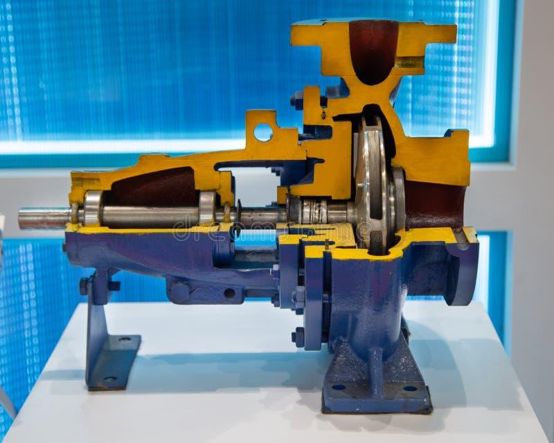 Cut-away centrifugal blue pump. Cut-away show cross section of industry centrifugal blue pump stock photography