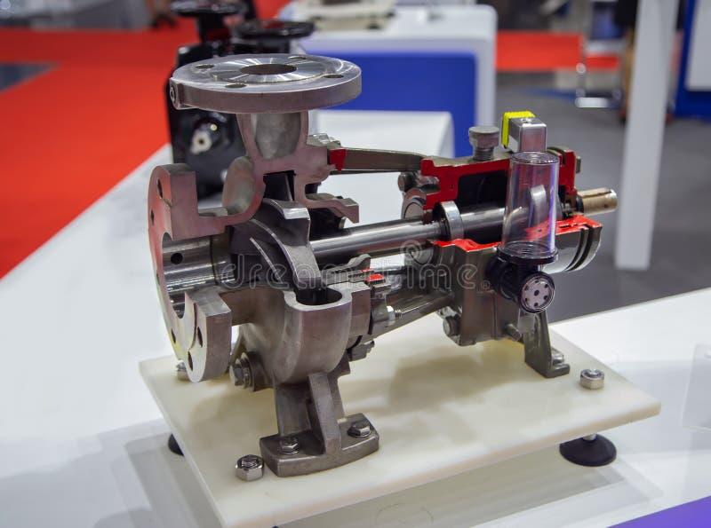 Cut-away centrifugal pump. Cut-away show cross section of industry centrifugal blue pump stock photos