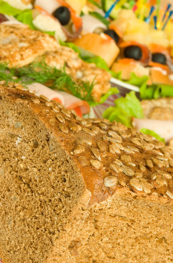 Download Cut Bread With Seeds, Meat And Canape Stock Photo - Image: 14181256