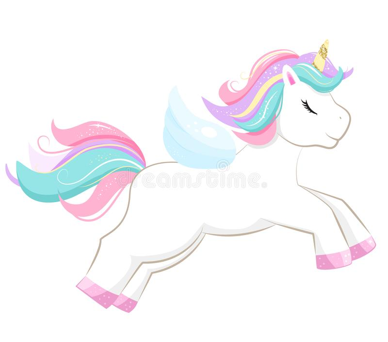 Cute magic cartoon unicorn. Illustration for children stock illustration