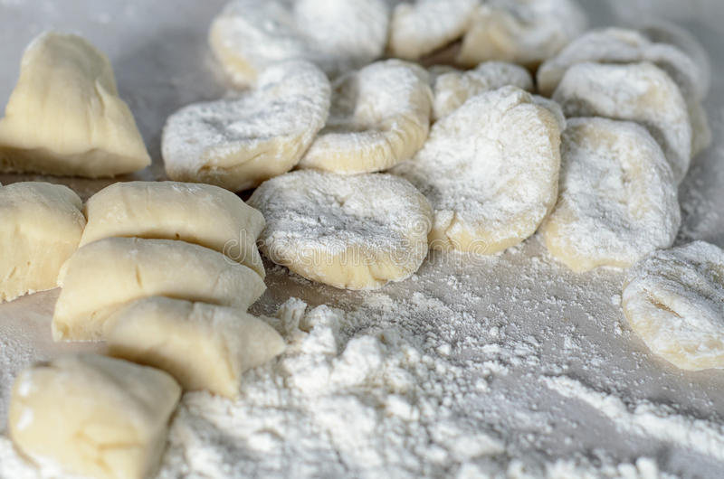 The cut dough to floured rolling. royalty free stock photography