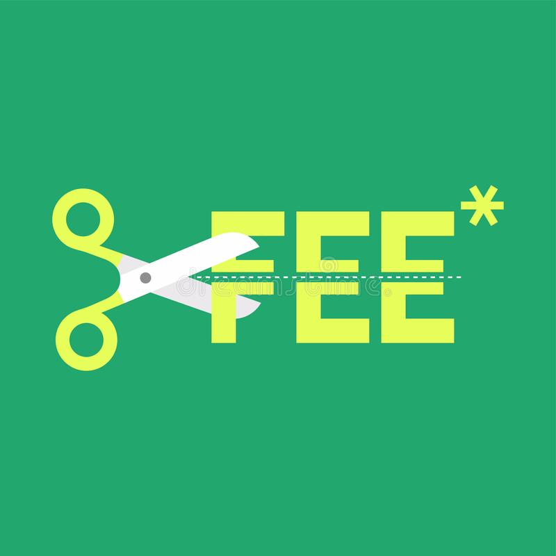 Cut fee by scissors. Vector illustration stock illustration