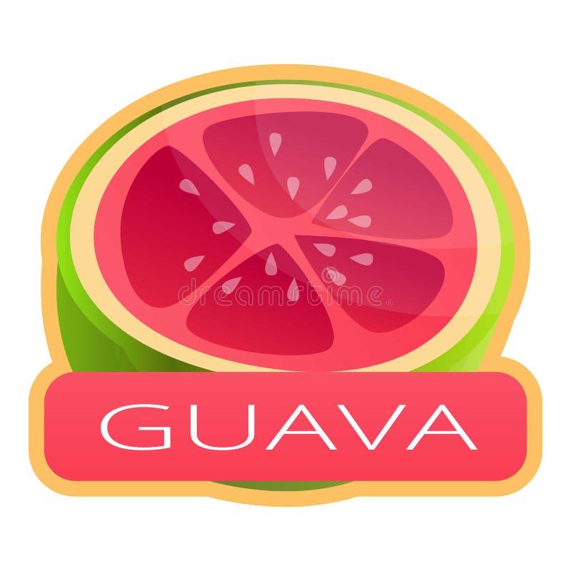 Cut fresh guava logo, cartoon style royalty free illustration