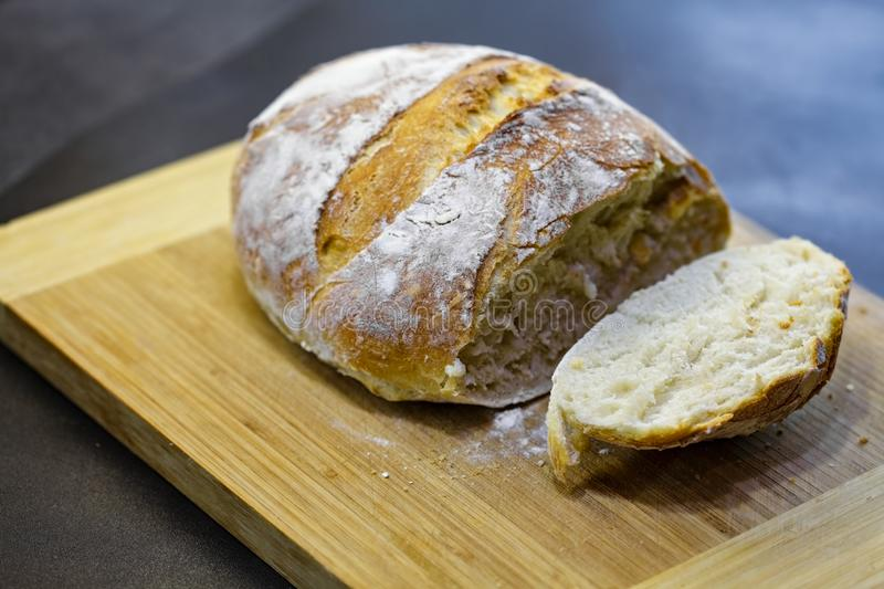 Cut fresh loaf royalty free stock images
