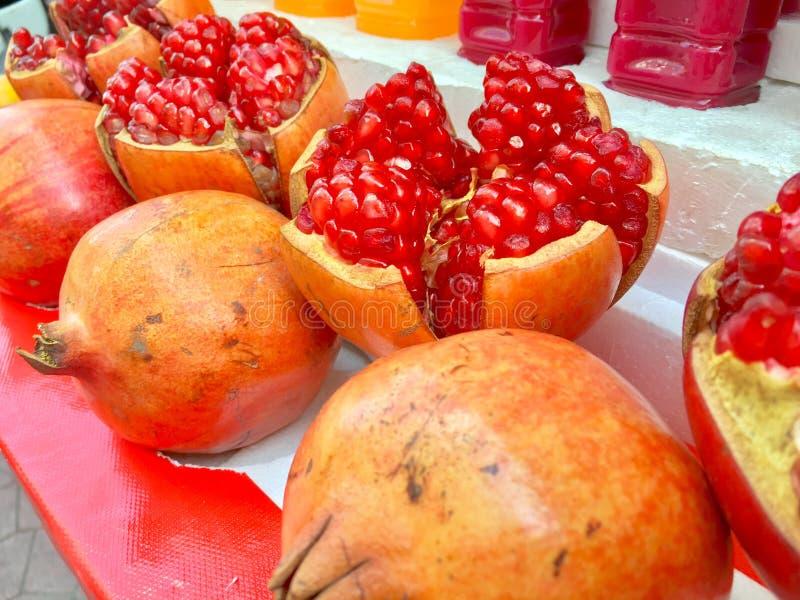 Cut fruit pomegranate. Pomegranate fruit. royalty free stock image
