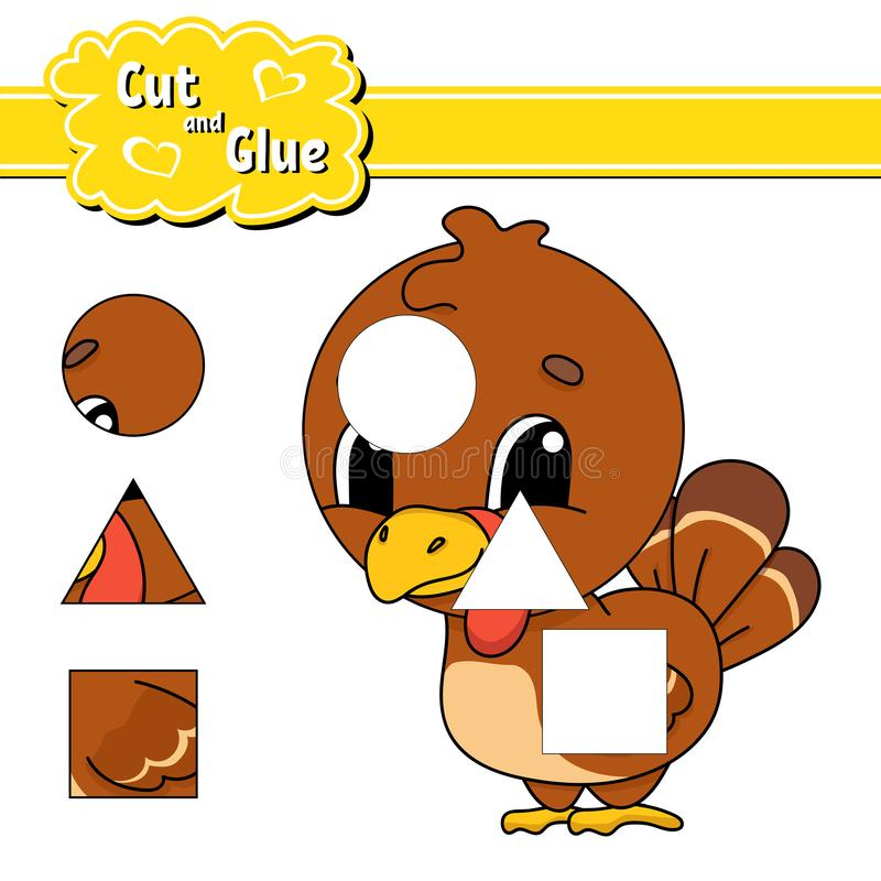 Cut and glue. Education developing worksheet. Activity page. Game for children. Isolated vector illustration in cute cartoon style royalty free illustration