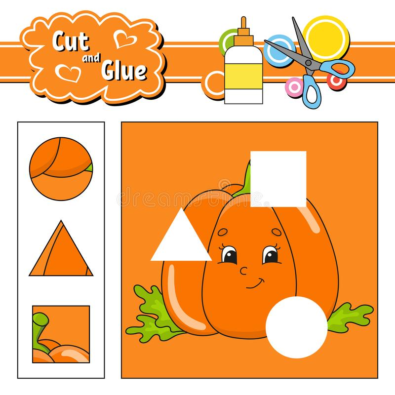 Cut and glue. Game for kids. Education developing worksheet. Cartoon pumpkin character. Color activity page. Hand drawn. Isolated. Vector illustration royalty free illustration