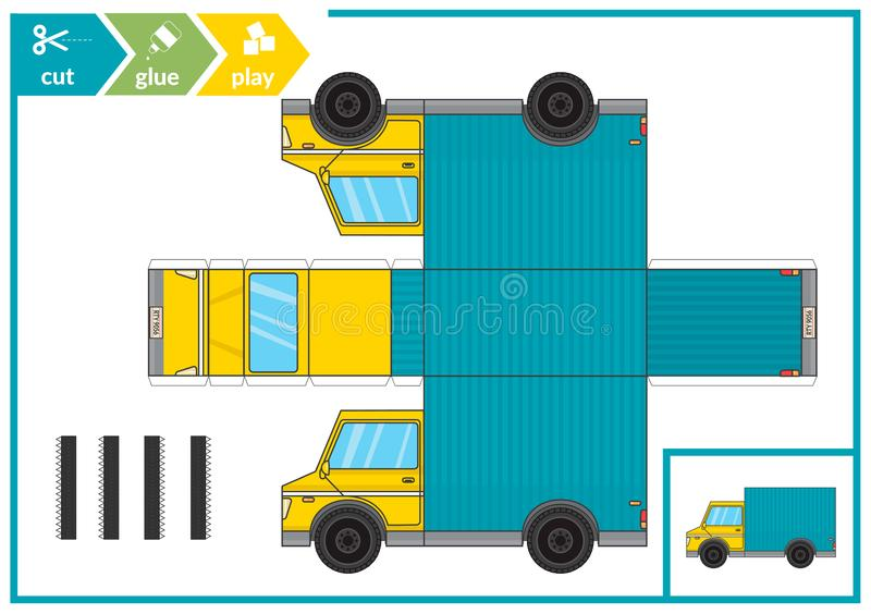 Cut and glue a paper car. Children art game for activity page. Paper 3d track. Vector illustration. vector illustration