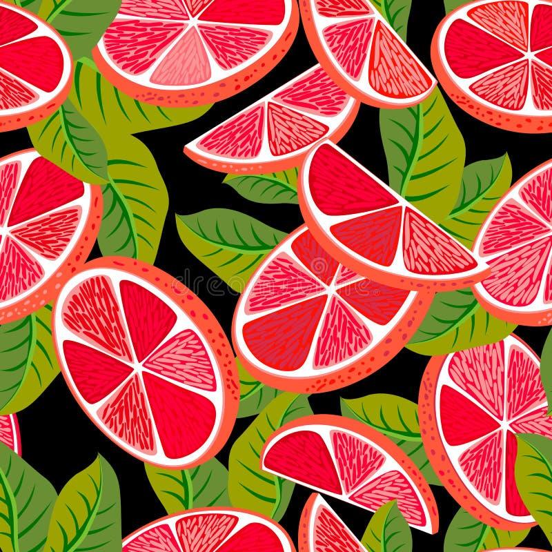 Cut grapefruit seamless pattern vector illustration