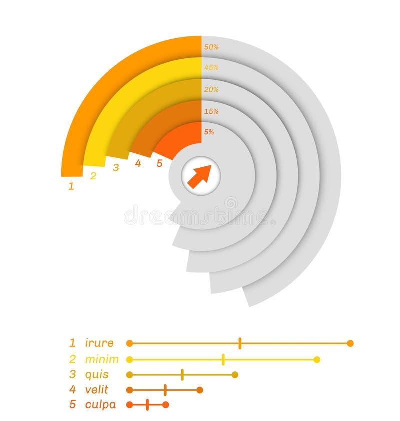 Cut grey diagram with percents. royalty free illustration