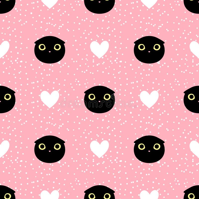 Cut head black cat with heart and dot seamless pattern royalty free illustration
