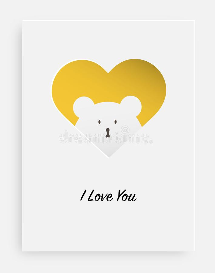 Cut the heart on the paper and white bear royalty free illustration