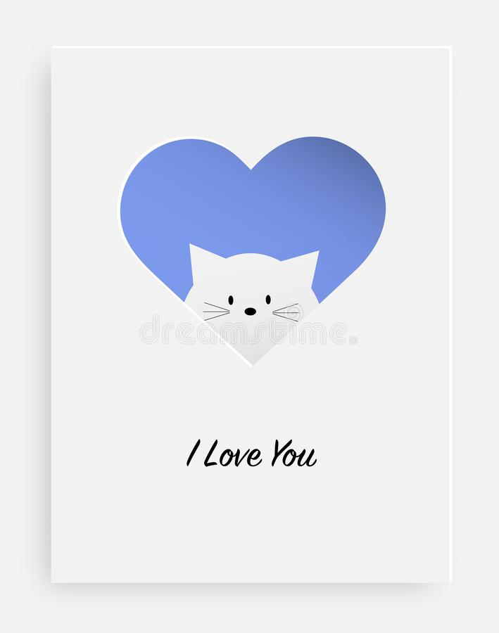 Cut the heart on the paper and white cat stock illustration