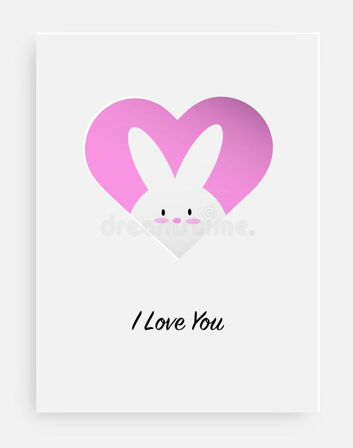 Cut the heart on the paper and white rabbit royalty free illustration