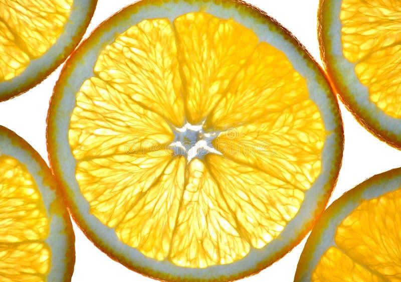 Cut isolated citrus orange fruit stock image