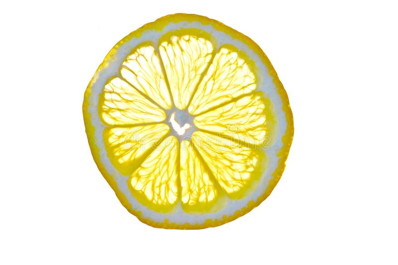 Cut isolated citrus lemon fruit royalty free stock images