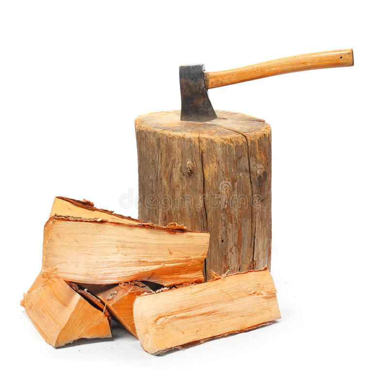Cut logs fire wood and old axe. royalty free stock images