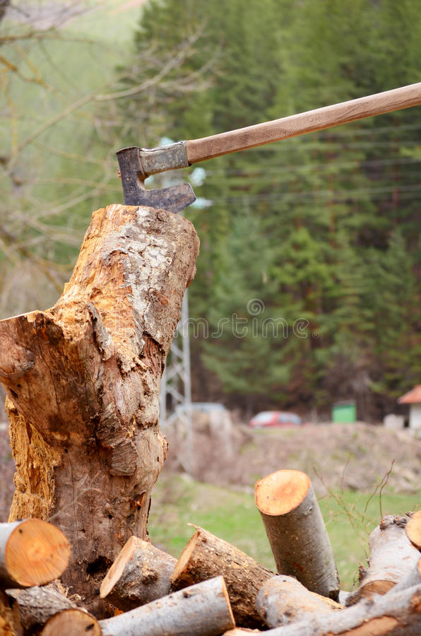 Cut logs fire wood and old axe royalty free stock photography