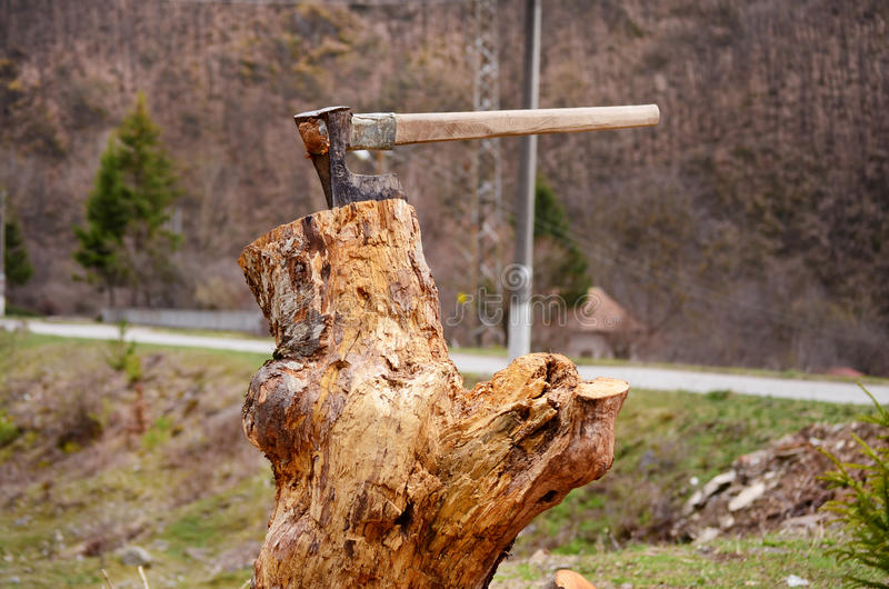 Cut logs fire wood and old axe royalty free stock image