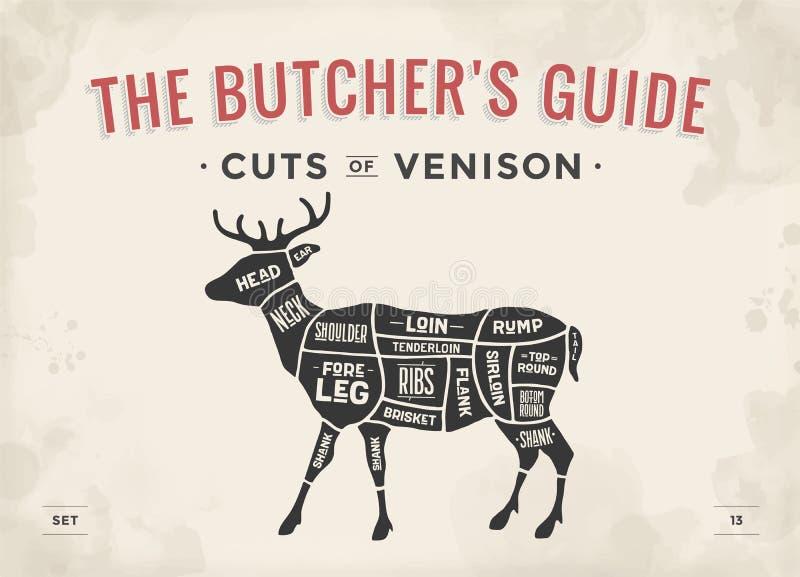 Cut of meat set. Poster Butcher diagram, scheme - Venison. Vintage typographic hand-drawn deer silhouette for butcher shop, restaurant menu, graphic design stock illustration