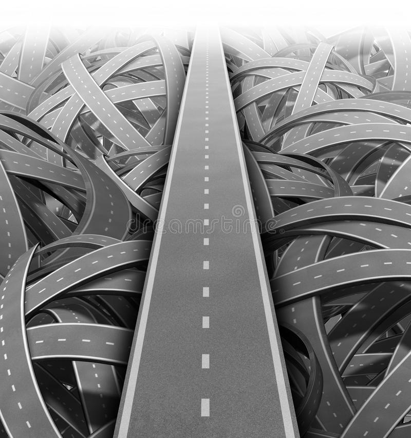 Cut through the mess. For Solutions and success with clear vision and strategy due to careful planning and management building a road bridge over a maze of stock illustration