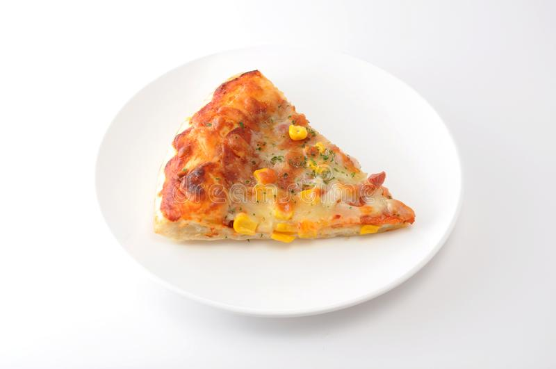 Cut off slice pizza  on white background royalty free stock photos