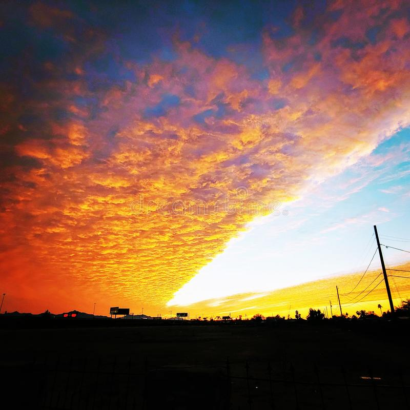 Cut Open the Sky. Sunset, arizona, cloudy, not, notcloudy, colorful, beauty, lookahead royalty free stock image