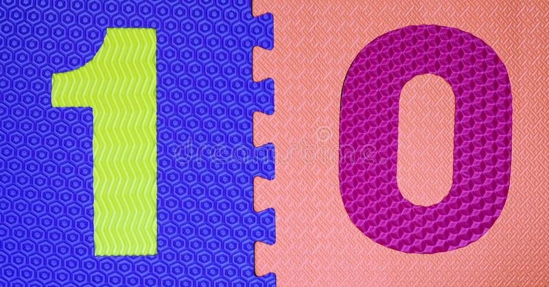 Multicolored Rubber Digits 5. Cut Out Digits Of Toy Rubber Puzzle. Multicolored Playground For Kids stock photo