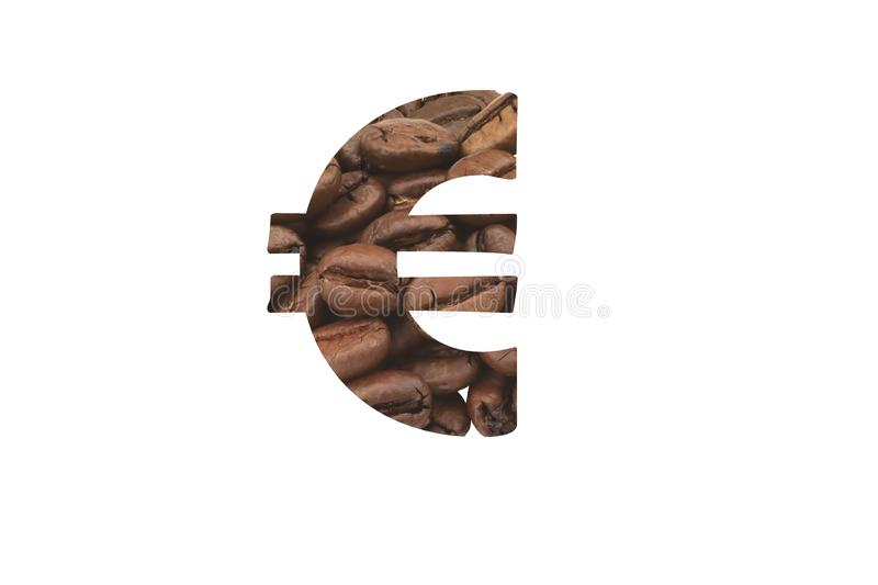 Cut out euro symbol of coffee beans. Symbolic of the coffee price. Cut out euro symbol from picture with closeup of coffee beans. Symbolic of the coffee price vector illustration