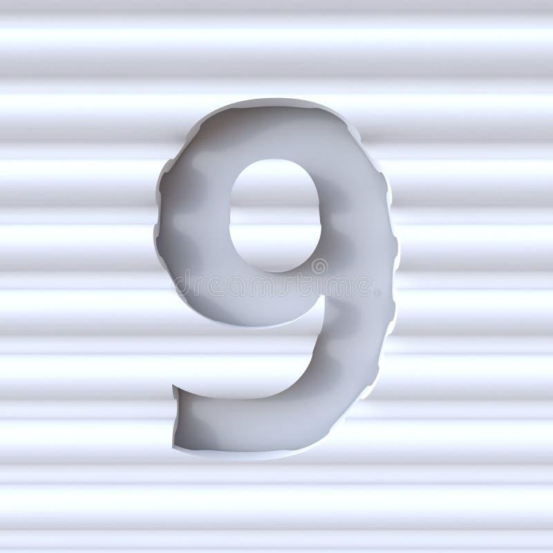 Cut out font in wave surface NUMBER 9 NINE 3D stock illustration
