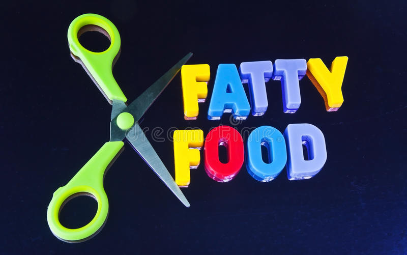 Cut out food food. Text 'fatty food' in colorful uppercase letters with scissors alongside symbolizing the concept of reducing intake of fatty foods, dark royalty free stock images