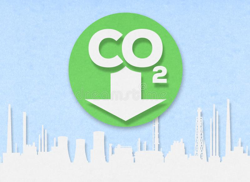 Cut out low emission city zone on cardboard. Cut out low emission zone on cardboard: Carbon Dioxide. CO2 logo on a white cardboard stock photo