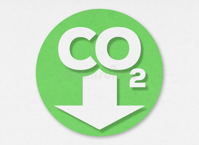 Cut out low emission zone on cardboard. Carbon Dioxide. CO2 logo on a white cardboard royalty free stock image
