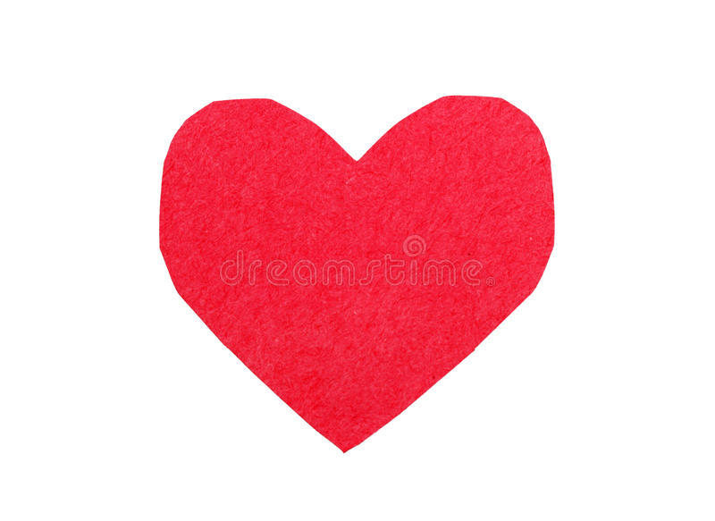 Cut out paper heart. Cut out red paper heart isolated on white background stock photo