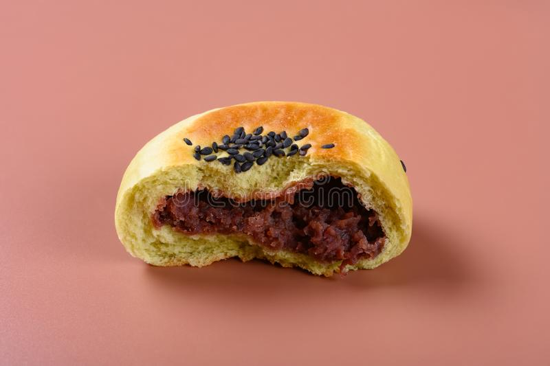 Cut out red bean paste cake on a brown background stock images