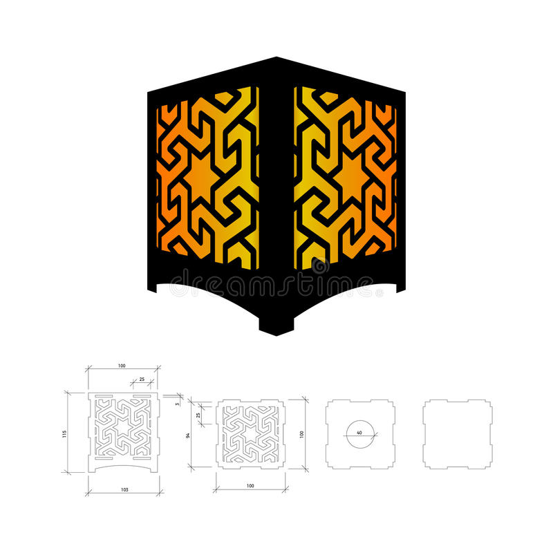 cut out template for lamp stock vector illustration of. Black Bedroom Furniture Sets. Home Design Ideas