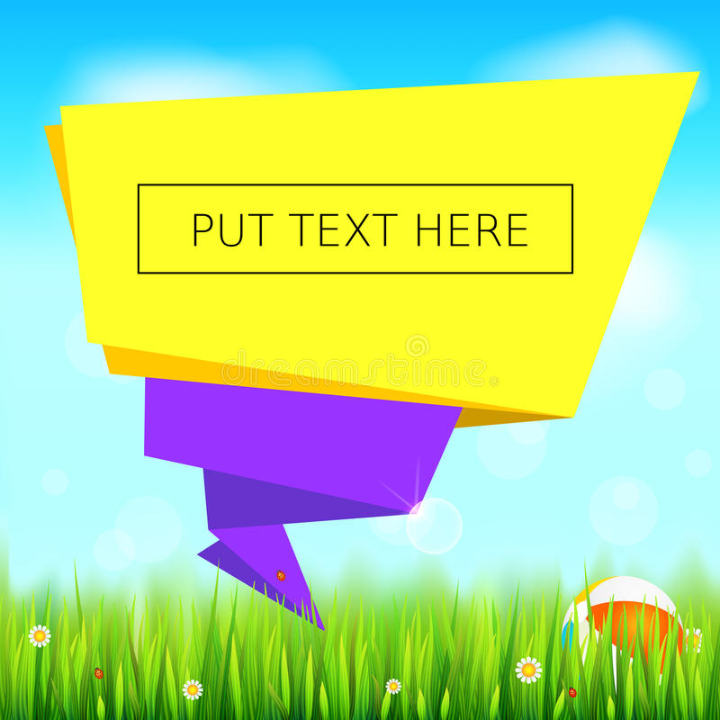 Cut paper art style for ad banner, summer background with place for text. Origami paper speech bubble. Green field vector illustration